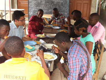 Dinner with my students, Cotonou, Benin, April 2015